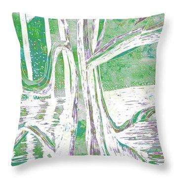 Green-grey Misty Morning River Tree Throw Pillow