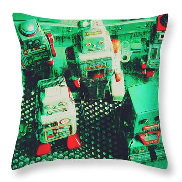 Green Grunge Comic Robots Throw Pillow