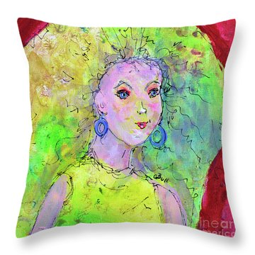 Throw Pillow featuring the painting Green Hair Don't Care by Claire Bull