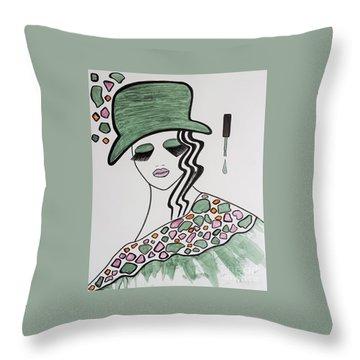 Green Hat Throw Pillow
