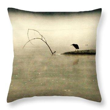 Green Heron In Dawn Mist Throw Pillow