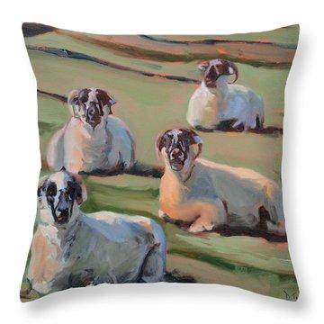 Green Hill Sheep At Rest Throw Pillow