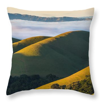 Green Hills And Low Clouds Throw Pillow by Marc Crumpler