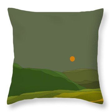 Green Hills In The Valley Throw Pillow by Val Arie