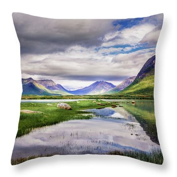 Green Hills Of Vesteralen Throw Pillow