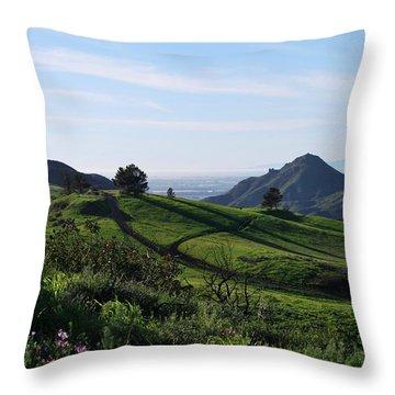 Throw Pillow featuring the photograph Green Hills Purple Flowers Foreground  by Matt Harang