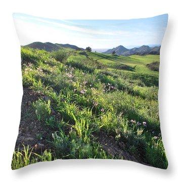 Throw Pillow featuring the photograph Green Hills Purple Flowers - Rocky View by Matt Harang