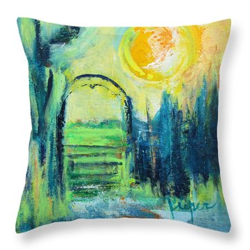 Green Horse Pasture Throw Pillow