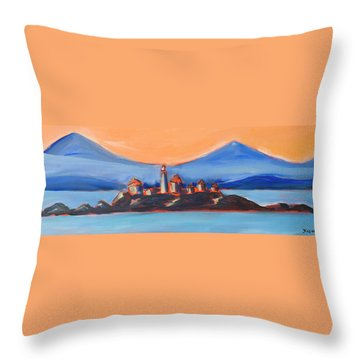 Throw Pillow featuring the painting Green Island Lighthouse by Yulia Kazansky