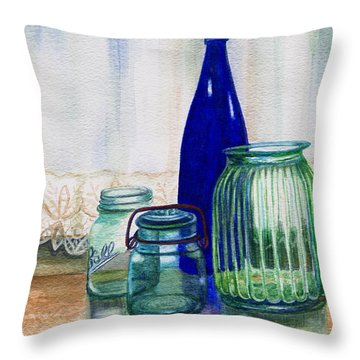 Green Jars Still Life Throw Pillow