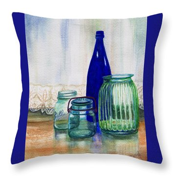 Throw Pillow featuring the painting Green Jars Still Life by Marilyn Smith