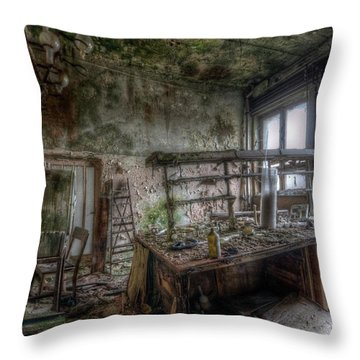 Throw Pillow featuring the digital art Green Lab by Nathan Wright