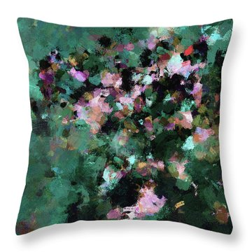 Throw Pillow featuring the painting Green Landscape Painting In Minimalist And Abstract Style by Ayse Deniz