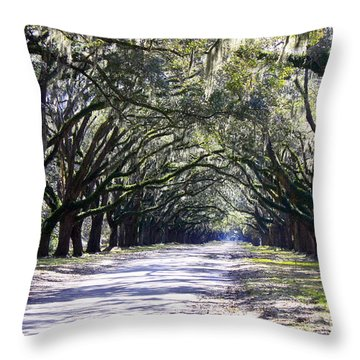 Green Lane Throw Pillow by Carol Groenen