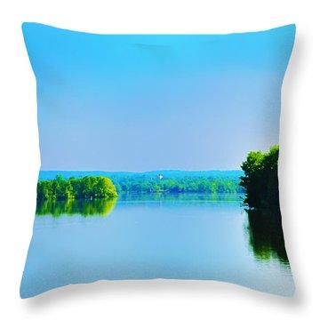 Green Lane Reservoir Throw Pillow by Bill Cannon