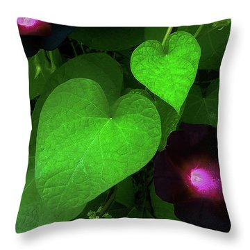 Green Leaf Violet Glow Throw Pillow