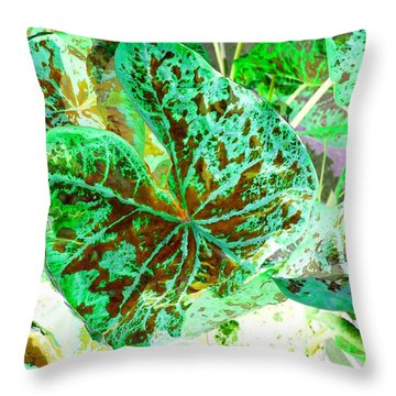 Throw Pillow featuring the photograph Green Leafmania 1 by Marianne Dow