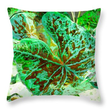 Green Leafmania 2 Throw Pillow by Marianne Dow