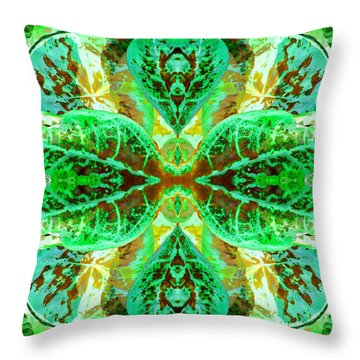 Green Leafmania 3 Throw Pillow by Marianne Dow