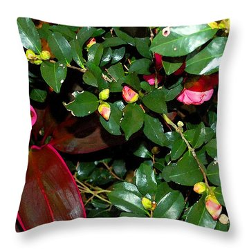 Green Leafs And Pink Flower Throw Pillow by Michael Thomas