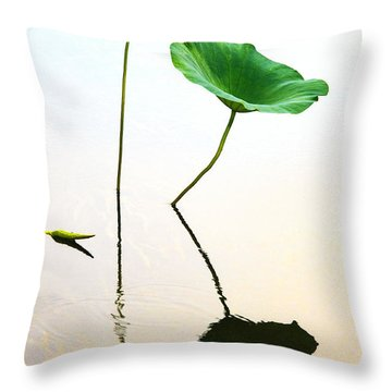 Green Leaves Throw Pillow by Carolyn Dalessandro