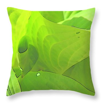 Green Leaves Sketch 2 Throw Pillow