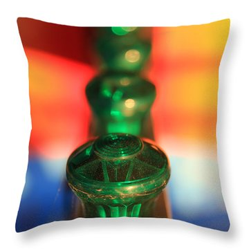 Throw Pillow featuring the photograph Green Lights by Lora Lee Chapman