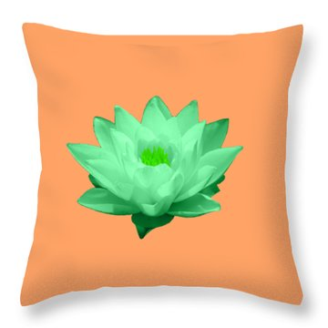 Green Lily Blossom Throw Pillow