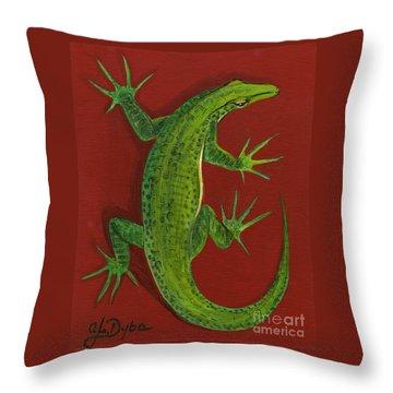 Green Lizard Throw Pillow by Anna Folkartanna Maciejewska-Dyba