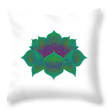 Throw Pillow featuring the digital art Green Lotus by Elizabeth Lock