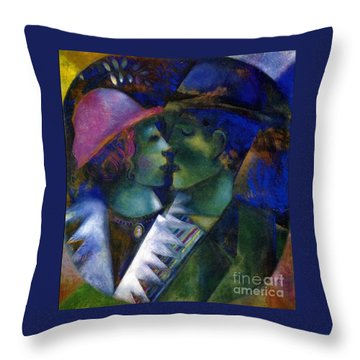 Green Lovers Throw Pillow by Marc Chagall