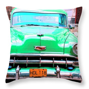Green Machine Throw Pillow by Dominic Piperata
