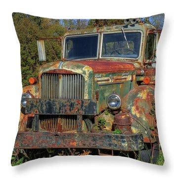 Green Mack Truck Throw Pillow