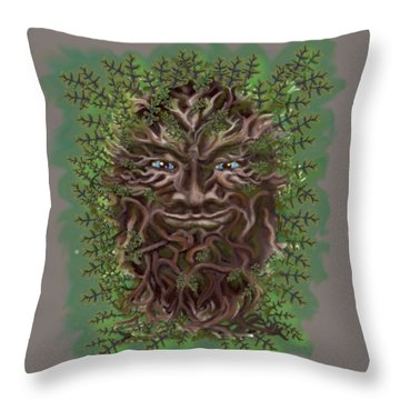 Green Man Of The Forest Throw Pillow