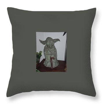Green Man Throw Pillow by Val Oconnor