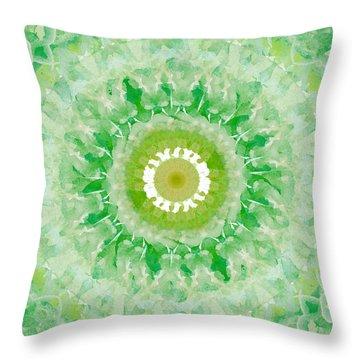 Green Mandala- Abstract Art By Linda Woods Throw Pillow