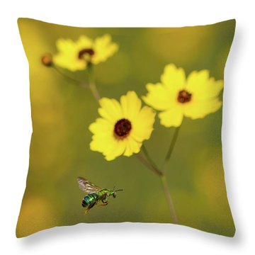 Green Metallic Bee Throw Pillow