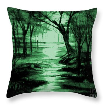 Green Mist Throw Pillow