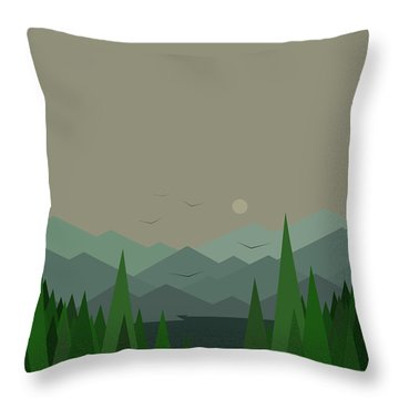 Throw Pillow featuring the digital art Green Mist - Verical by Val Arie