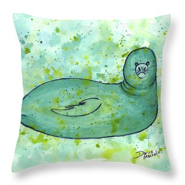 Throw Pillow featuring the painting Green Monk Seal by Darice Machel McGuire