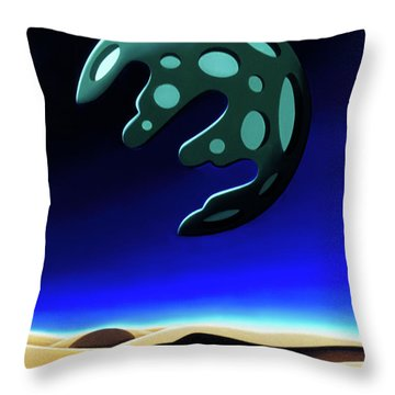 Green Moon Rising Throw Pillow