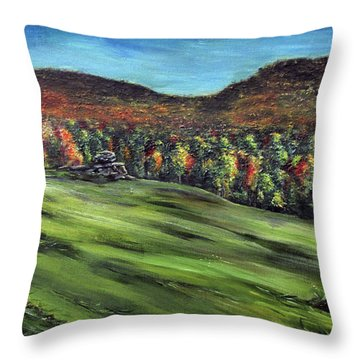 Green Mountain Retreat Throw Pillow