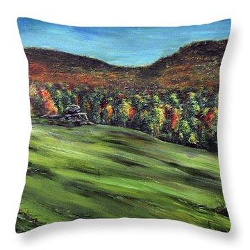 Green Mountain Retreat Throw Pillow