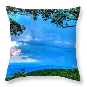 Green Mountain Storm Throw Pillow