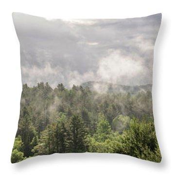 Green Mountains Fog Panoramic Throw Pillow