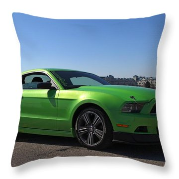 Green Mustang Throw Pillow by Davandra Cribbie