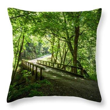 Green Nature Bridge Throw Pillow
