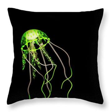 Green Neon Jellyfish Throw Pillow