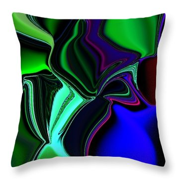 Green Nite Distortions 4 Throw Pillow