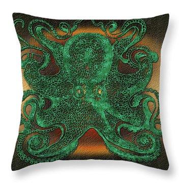 Green Octopus Throw Pillow